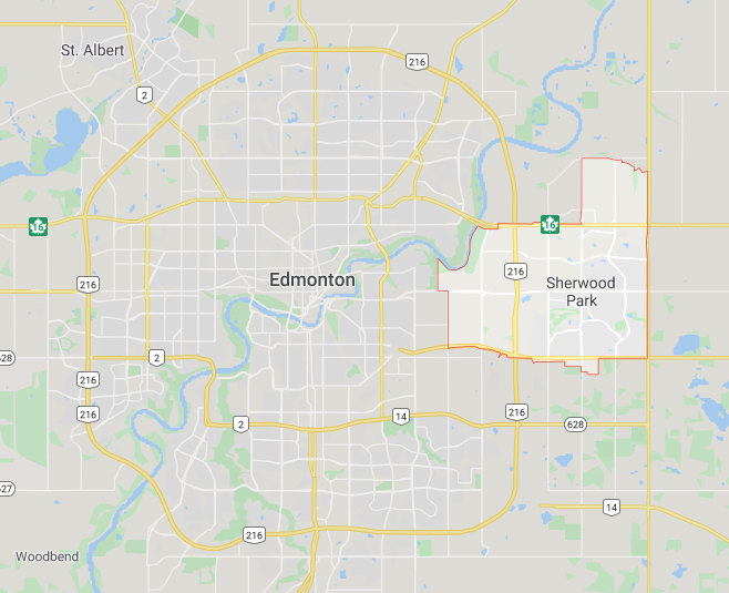 Sherwood Park Map Covering Electrician Services