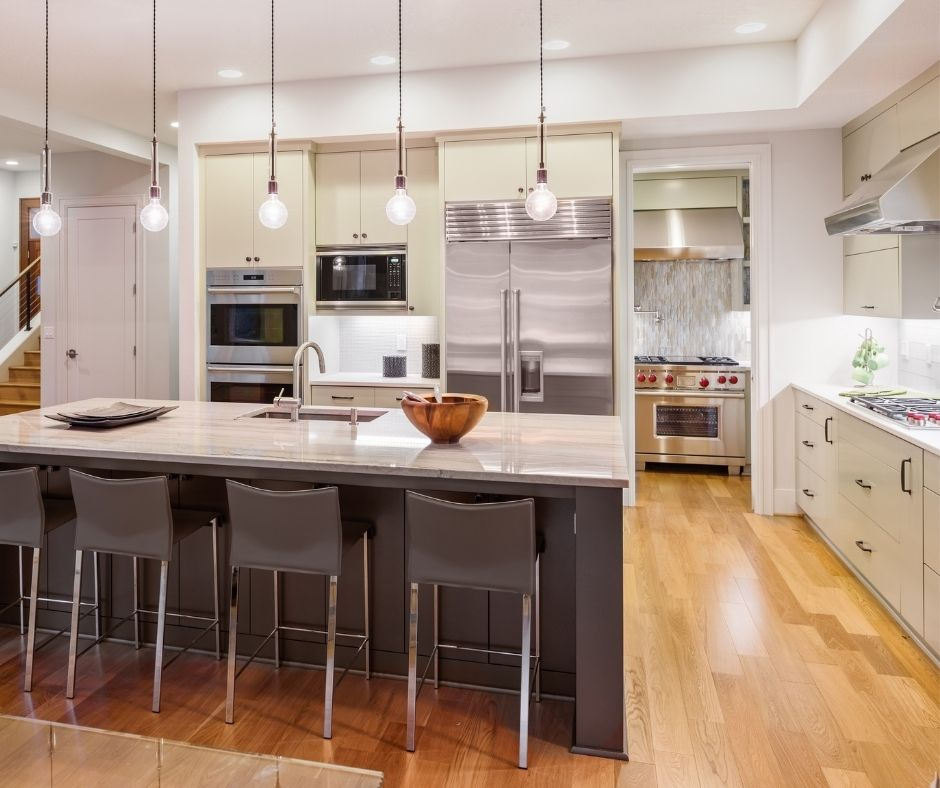 Prominent renovation area. Kitchen renovation, remodeling.